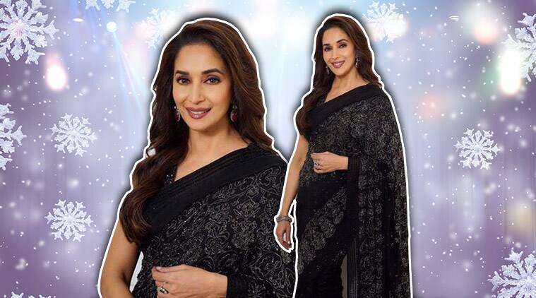 madhuri dixit, madhuri dixit sari, jade by monica and karishma, madhuri dixit jade by monica and karishma, madhuri dixit fashion, madhuri dixit latest news, madhuri dixit latest pics, madhuri dixit photos, celeb fashion, bollywood fashion, indian express, indian express news