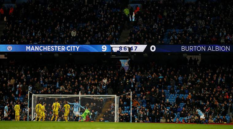 General view of the Etihad Stadium during Manchester City vs Burton Albion in the first lea of the League Cup semifinal