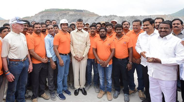 polavaram project, Guinness Book of World Record, polavaram project enters Guinness Book of World Record, chandrababu naidu, concrete pouring world record, andhra pradesh, andhra pradesh news