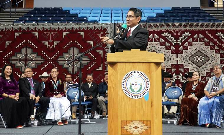 New Navajo president, Jonathan Nez, Jonathan Nez oath, Navajo nation president, Native America news, Fort defiance oath, Nez and Lizer, Navajo Nation News, World news, Indian Express