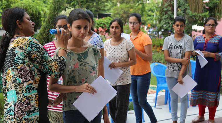 JEE Main 2019: Students queuing up to enter the exam hall. (Representational Image) Express Photo by Kamleshwar Singh