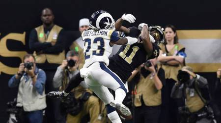 Los Angeles Rams defensive back Nickell Robey-Coleman (23) breaks up a pass intended for New Orleans Saints wide receiver Tommylee Lewis (11) on a third down play during the fourth quarter in the NFC Championship game.