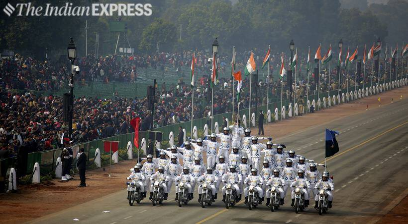 Full dress rehearsal for Republic Day parade at Rajpath