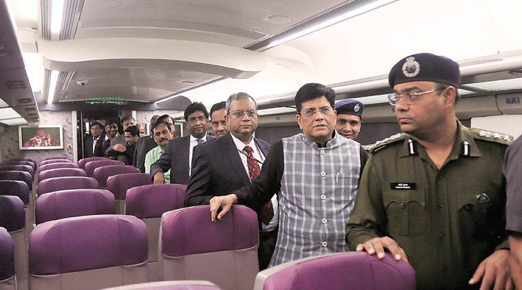 train 18, t 18, train 18 pics, t 18 pics, fastest train, delhi varanasi train 18, railways, railway minister, piyush goyal, indian express