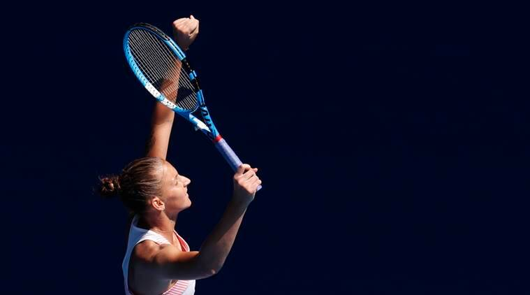 Czech Republic's Karolina Pliskova reacts after winning the match against Serena Williams of the U.S.