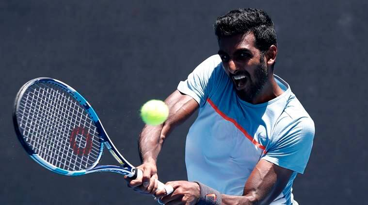 Prajnesh Gunneswaran in action during the match against Frances Tiafoe of the U.S. at Australian Open 2019
