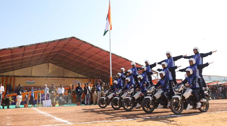 republic day, palanpur celebration, parade at palanpur, vijay rupani, gujarat cm, r-day parade, republic day parade, bike stunt on republic day, injured in bike stunt, republic day news, gujarat news, indian express