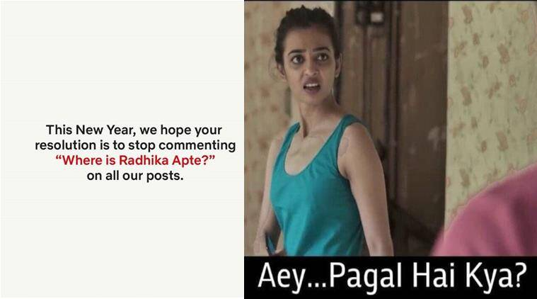 netflix india, radhika apte, new year resolution, netflix india radhika apte, indian express, funny news, social media buzz, new year 2019, indian express