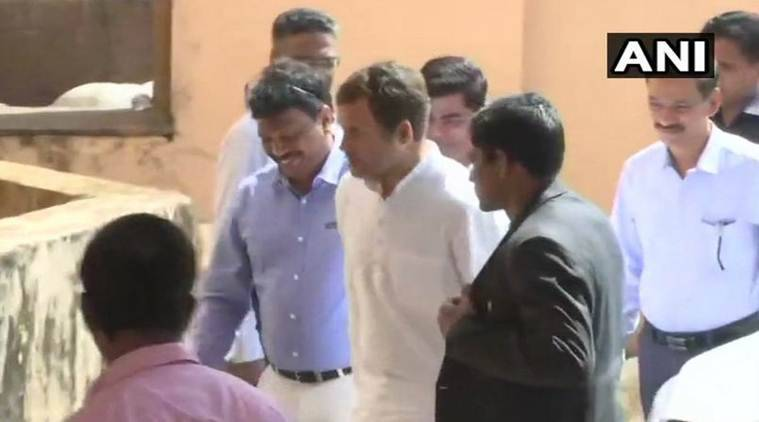 Congress chief Rahul Gandhi outside Goa CM Manohar Parrikar's residence in Goa. (ANI)
