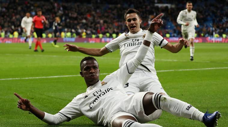 Real Madrid's Junior Vinicius celebrates after scoring their third goal against leganes in the Copa del Rey