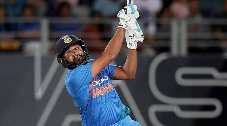 India's Rohit Sharma strikes a six during their twenty/20 cricket international match against New Zealand at Eden Park in Auckland, New Zealand