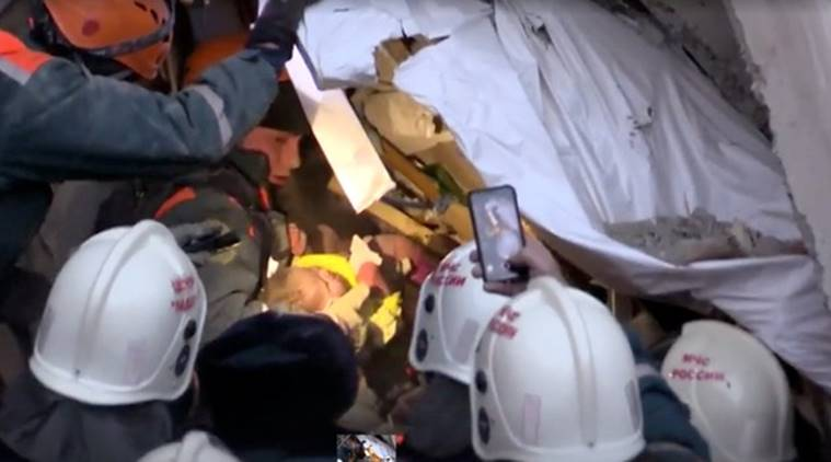 russia, russia blast, blast in russia, boy rescued, baby boy alive, baby boy under rubble, russia news, russia blast news, world news, indian express