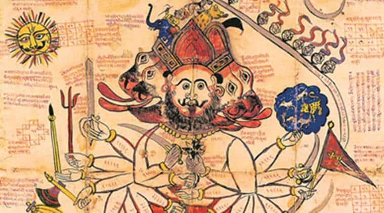 hanuman, ramayana, paintings, goddess kali, exhibition, navamukhi hanuman, mysore, jodhpur, devanagari, indira gandhi national centre for arts and culture