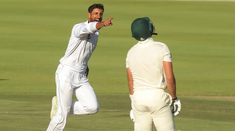 Pakistan's Shan Masood celebrates taking the wicket of South Africa's Aiden Markram