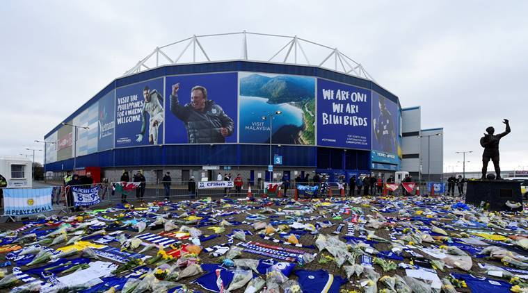 General view of tributes left outside the stadium for Emiliano Sala