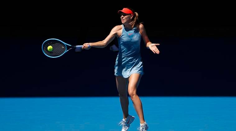 Russia's Maria Sharapova in action during the match against Britain's Harriet Dart at Australian Open 2019