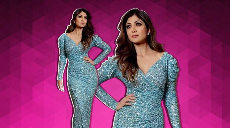 shilpa shetty, shilpa shetty new year, shilpa shetty new year blue gown 2019, shilpa shetty pics, shilpa shetty fashion, celeb fashion, indian express, indian express news