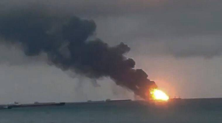 Ships with Indian, Turkish crews catch fire in Kerch Strait, 11 dead