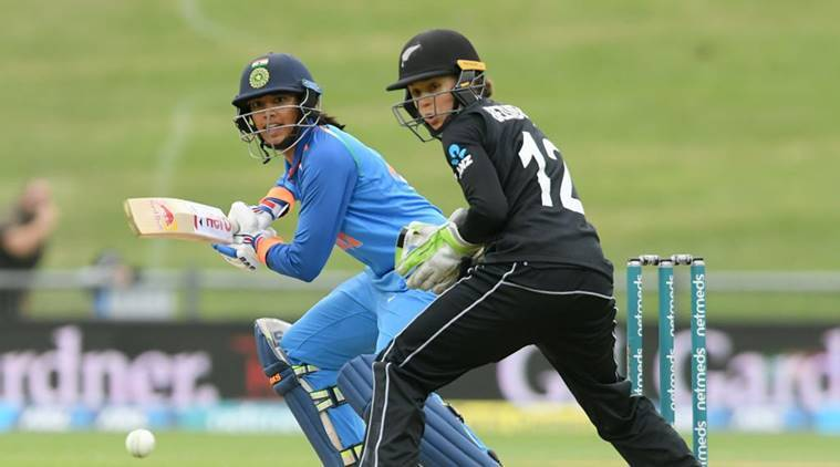 Smriti Mandhana in action in first ODI against New Zealand at Napier