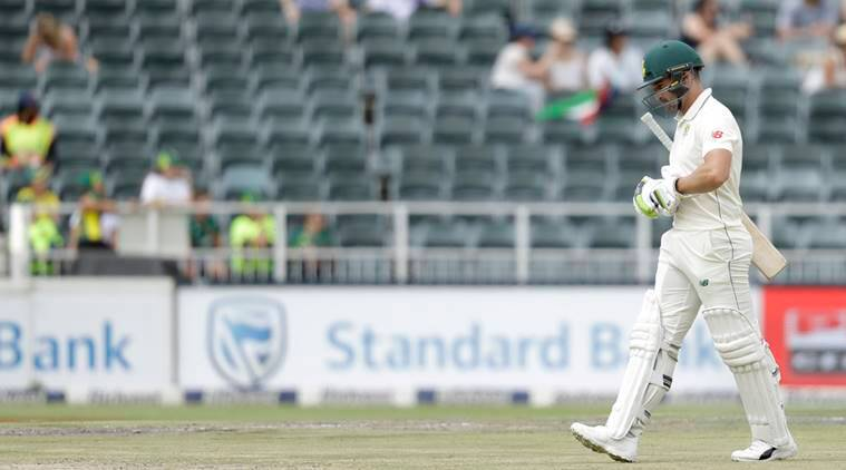 South Africa's batsman Dean Elgar leaves the field after dismissed for 5 runs on day two of the third cricket test match between South Africa and Pakistan at the Wanderers stadium in Johannesburg