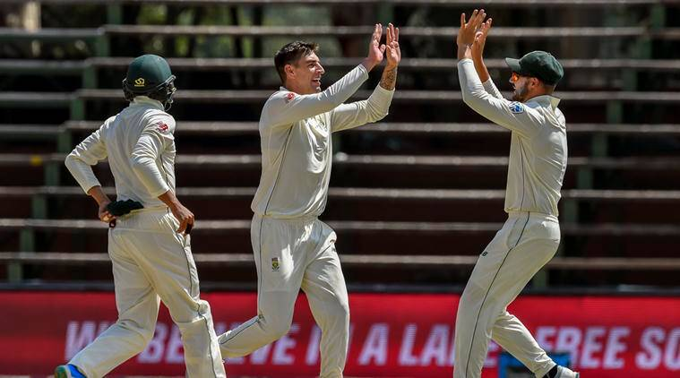 South Africa vs Sri Lanka Live Cricket Score: South Africa's bowler Duanne Olivier, center, celebrates dismissing Pakistan's batsman Sarfraz Ahmed on day four of the third cricket test match between South Africa and Pakistan at Wanderers Stadium in Johannesburg, South Africa