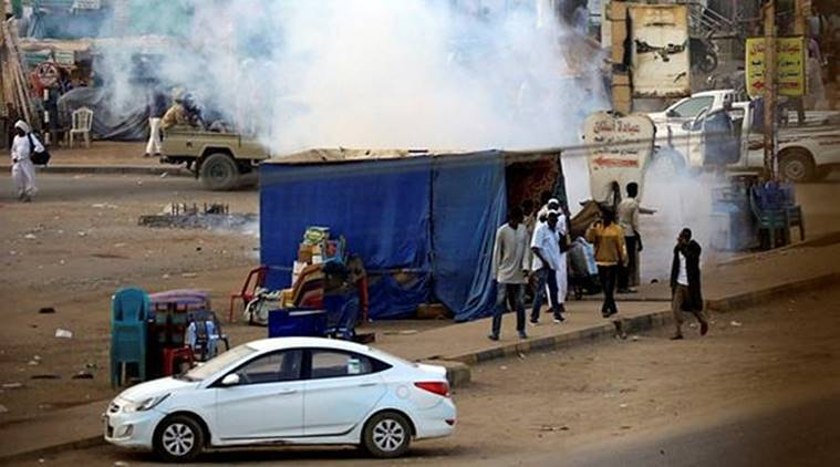 A tear gas canister fired to disperse Sudanese demonstrators, during anti-government protests in the outskirts of Khartoum, Sudan. (Reuters)