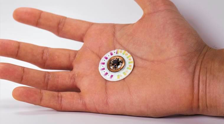An undated photo shows a patch that provides real-time information on the wearer's pH, sweat rate, and levels of chloride, glucose and lactate