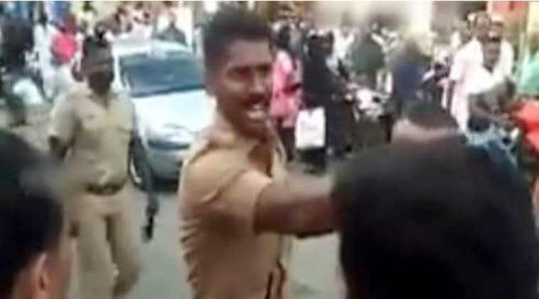 sabarimala protest, sabarimala violence, Tamil Nadu SI, Police officer, Hartal, Hartal Proponents, BJP Hartal, Kerala Hartal, Sabarimala Women Entry, indian express, viral videos
