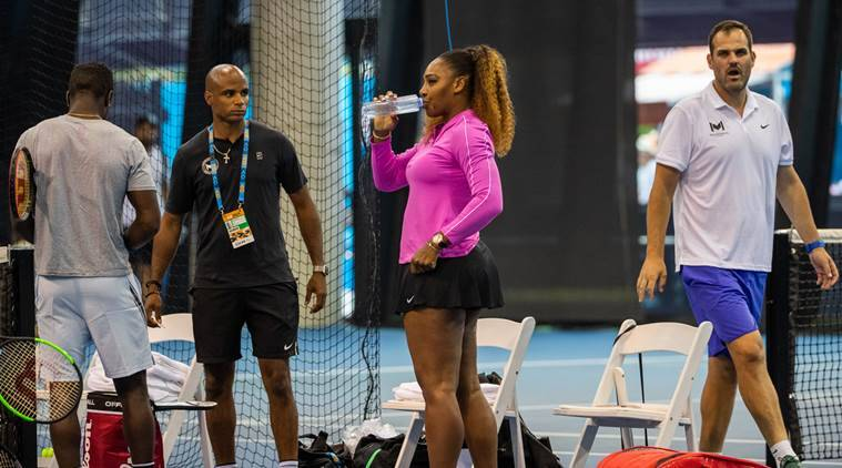Serena Williams arrives for a practice session at the Australian Open in Melbourne.