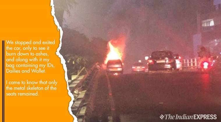 uber, uber cab in flames, commuter shares uber cab in flames, chennai, chennai uber, chennai uber in flames, uber cab goes up in flames, viral video, trending in india, trending, indian express, indian express news