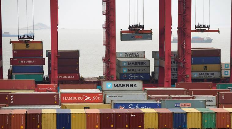 Containers are seen at the Yangshan Deep Water Port in Shanghai, China. Latest China trade data showed exports had fallen while imports had contracted.