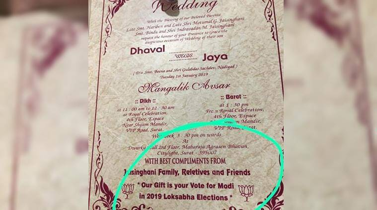 A Wedding Invite Asking Guests To Gift A Vote For Modi In