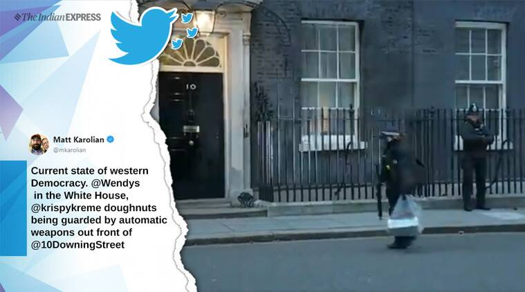 doughnut box downing street, Krispy Kreme doughnuts, doughnuts delivery armed police, UK PM House doughnut video, brexit deal, uk politics, viral news, funny news, indian express