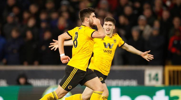 Wolverhampton Wanderers' Ruben Neves celebrates scoring their second goal against Liverpool in the FA Cup
