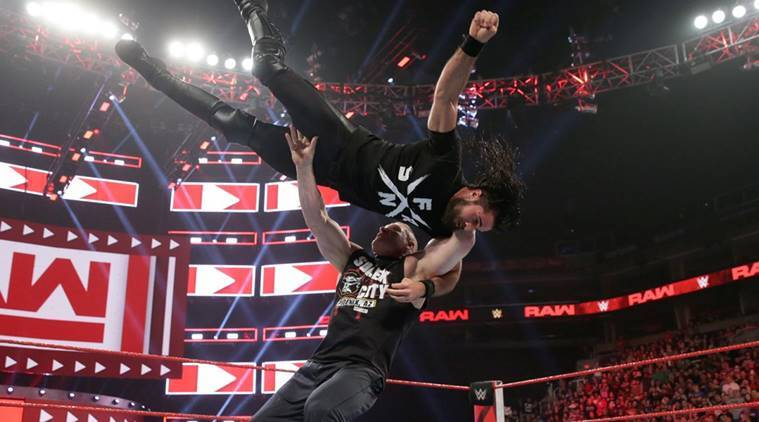 Brock Lesnar and Seth Rollins on WWE Raw