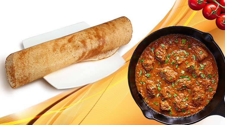 dosa, non veg dosa combo, dosa with non veg curry, odd food combination, viral food trend, food news, viral news, indian express