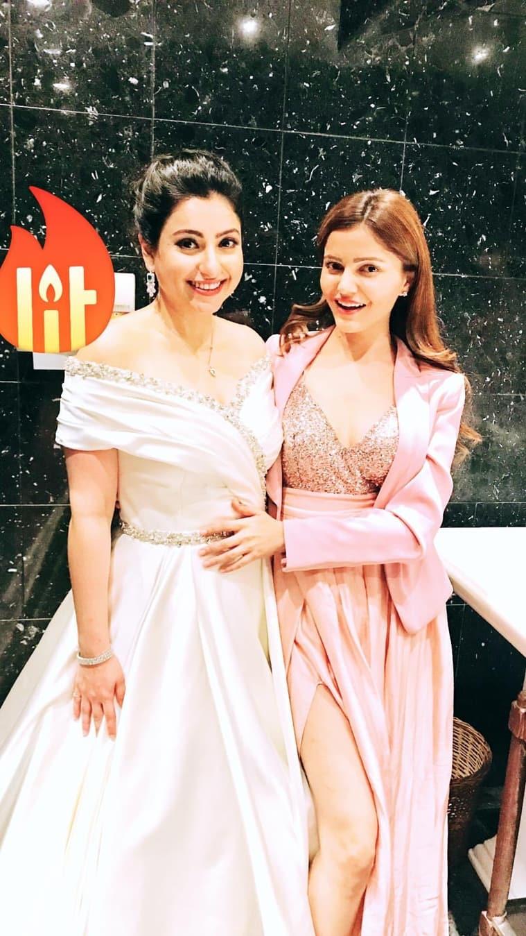 rubina dilaik attends benaf dadachandji wedding reception