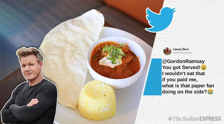 gordon ramsay, gordon ramsay food review, gordon ramsay funny tweets, gordon ramsay roast cooking skills, gordon ramsay indian food, butter chicken viral news, funny news, indian express