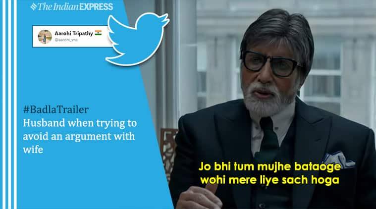 badla trailer, badla, badla movie, amitabh bachchan, taapsee pannu, badla movie trailer, badla film, badla cast, shah rukh khan, badla memes, bollywood memes, viral news, funny news, entertainment news, indian express