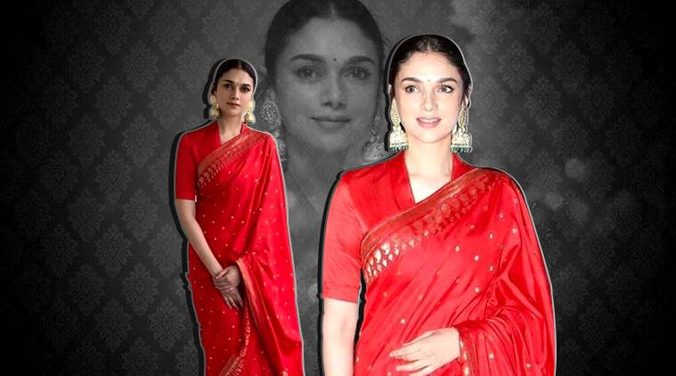Aditi Rao Hydari Looks Regal In Red Raw Mango Silk Sari