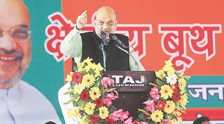 amit shah purvanchal rally, amit shah lucknow, amit shah uttar pradesh rally, amit shah bsp sp lucknow rally, indian express news