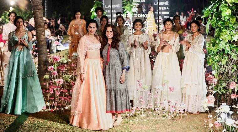 Anita Dongre, Anita Dongre x Tencel, Spring'/Summer'19 collection, Lakme Fashion Week Day 2, Lakme Fashion Week, Lakme Fashion Spring/Summer 2019, Tencel India, Anita Dongre Grassroot, Yami Gautam, Shayami Kher, Pooja Hegde, A Summer Reverie, Sustainable Fashion Day, indian express, indian express news