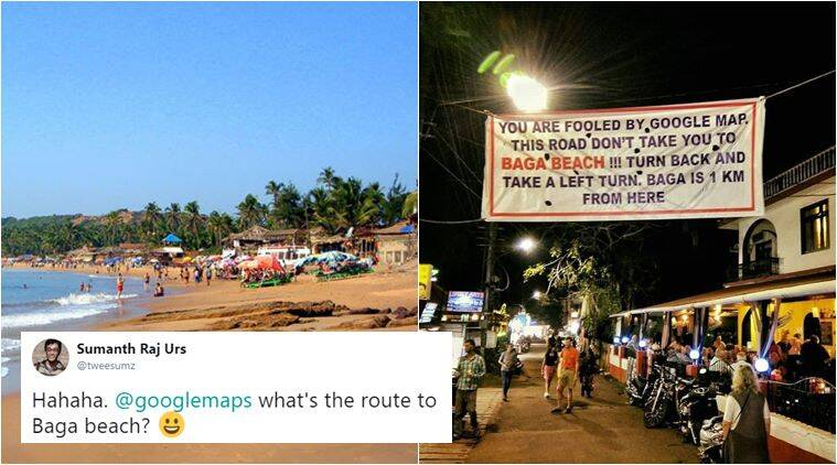 This banner warning people of wrong route to Baga Beach has