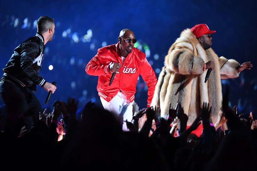 Recording artist Big Boi performs with Maroon 5 lead singer Adam Levine during the halftime show in Super Bowl LIII at Mercedes-Benz Stadium.