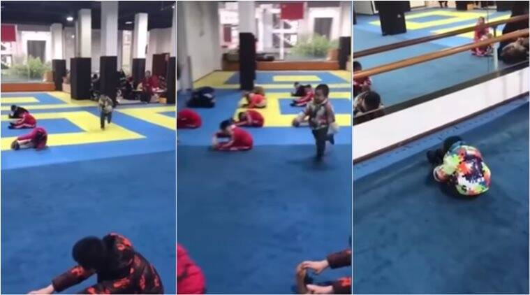 cute baby videos, kid late for yoga class, viral video, indian express
