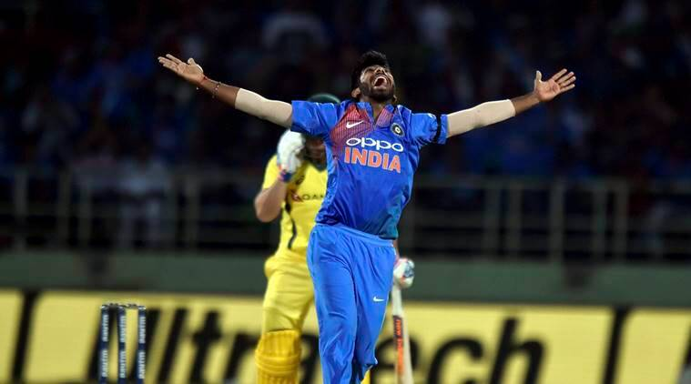 India's Jasprit Bumrah celebrating for the wicket of Australia's Aaron Finch during the first T20 international cricket match between India and Australia at the Dr. YS Rajasekhara Reddy ACA–VDCA Cricket Stadium in Vizag