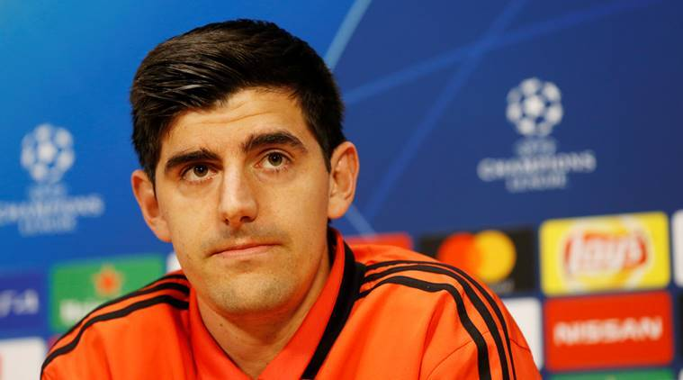 Real Madrid's Thibaut Courtois during the press conference ahead of the Ajax game