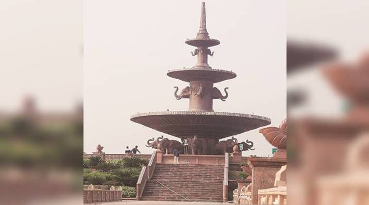 dalit prerna sthal, green garden, noida park, statues, mayawati, dalit pride, bsp chief mayawati, noida news, indian express