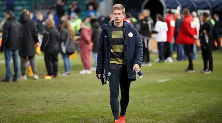 Manchester City's Kevin De Bruyne before the match against Newport