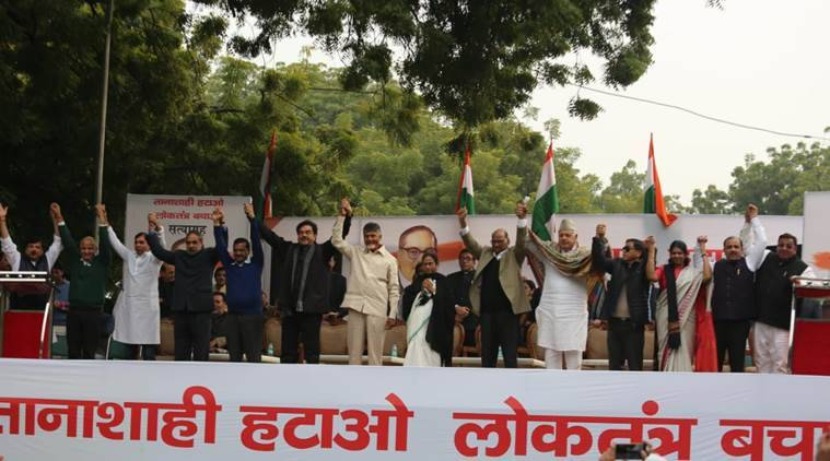 aap mega opposition rally, aap opposition rally, aap opposition rally in delhi, jantar mantar rally, Lok Sabha Elections, general elections, indian express
